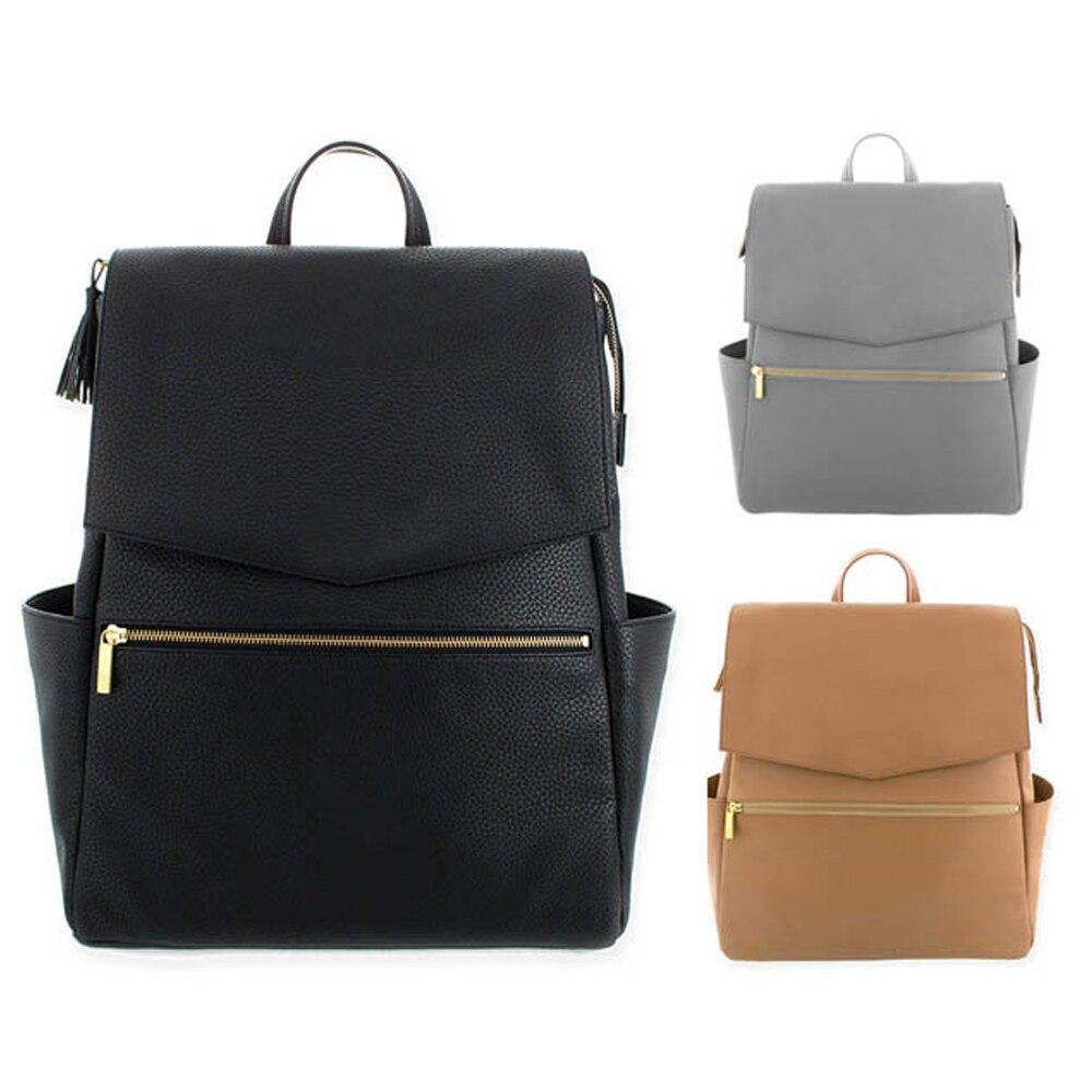 Grand sac à langer en cuir PU sac à dos pour maman en marron poussette organisateur sacs maternité voyage bébé Nappy sacs Panaleras