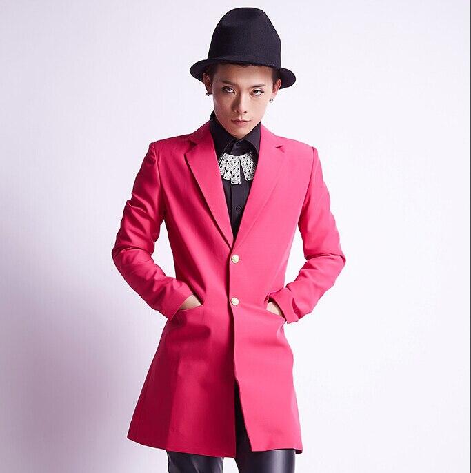 Men Fashion Pink Mid Long Jacket Stage Wear Blazer Costume Nightclub High Quality Korean Male Rock Singer Punk Slim Coat