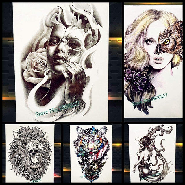 3D Black Sexy Women With Rose Flower Mask Temporary Tattoo Stickers Girl Waterproof Henna Tattoo Paste Body Art Men Arm Sleeve