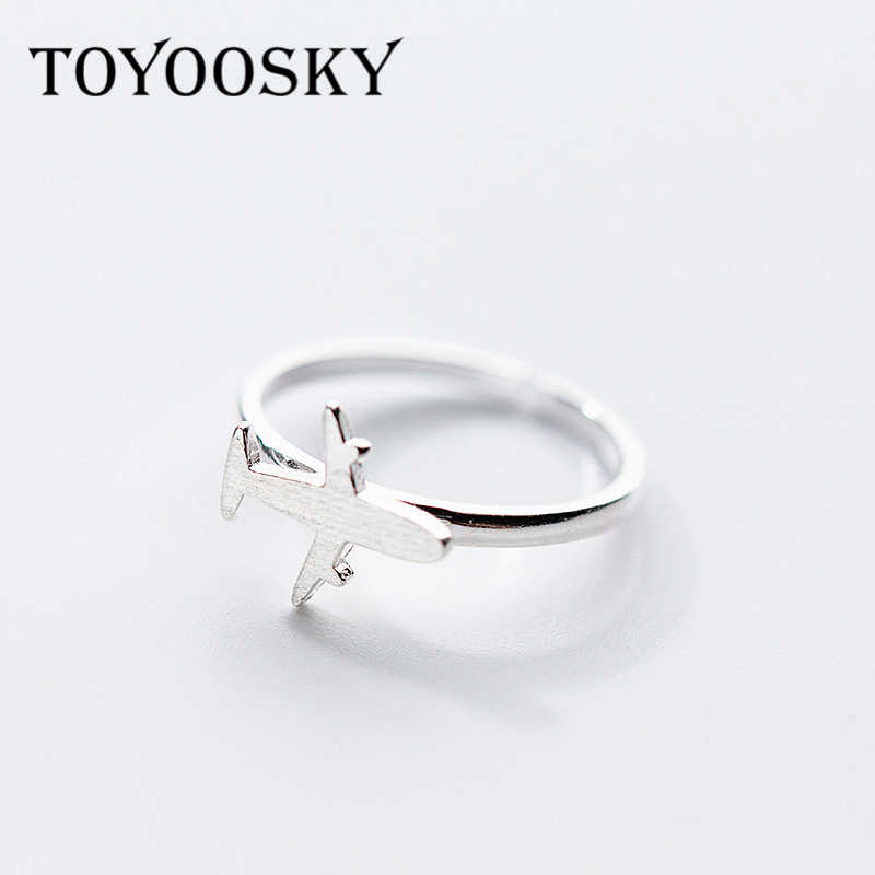 Wholesale 100% 925 Sterling Silver Airplane Plane Finger Ring for Women Aircraft Rings Sterling Silver Jewelry Gift Adjustable