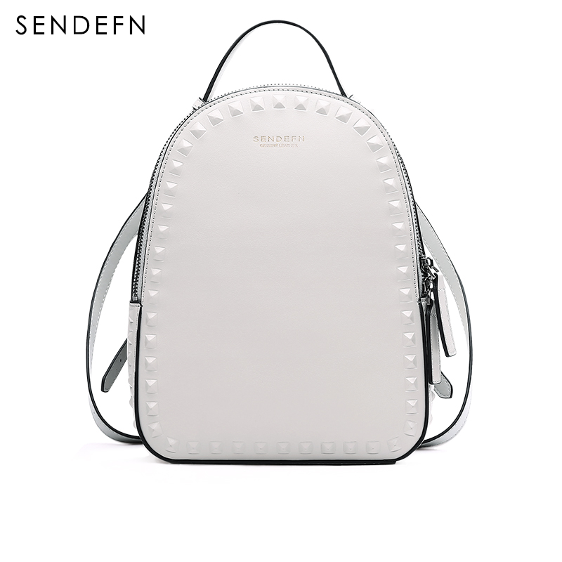 Sendefn Spring Backpack Split Leather Women Backpack Fashion School Quality Bag Women Shoulder Bag Youth Shoulder Bag Women 360ml