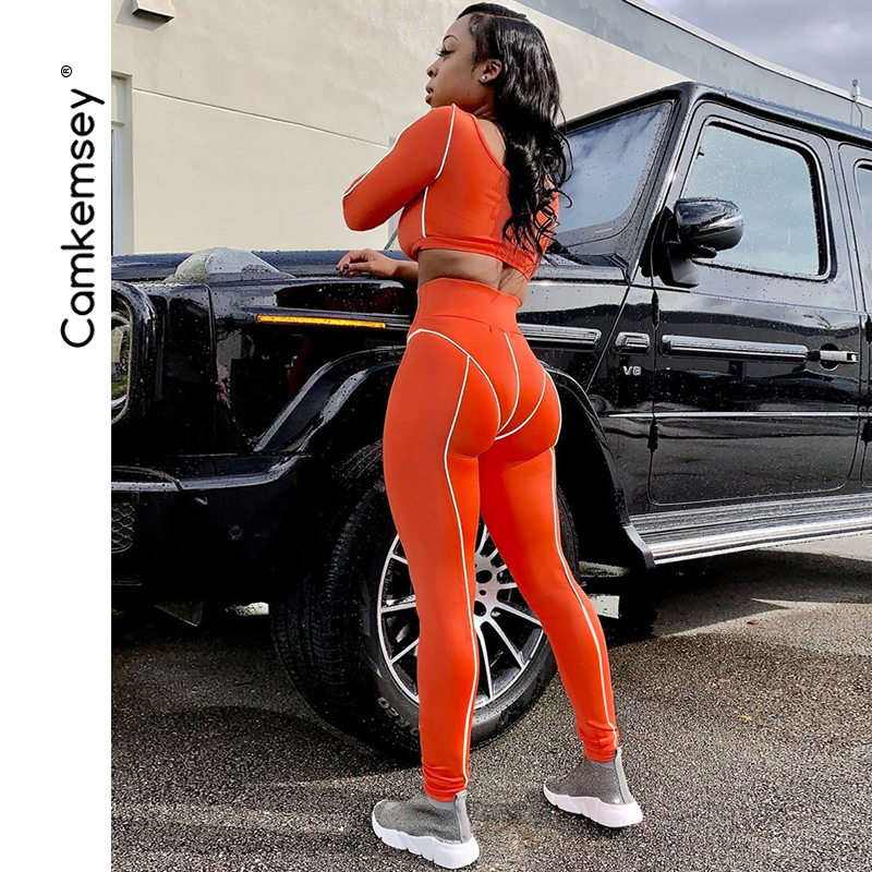 Camkemsey Women Street Patchwork Fashion Reflective Fitness   Leggings   2019 New Stretch High Waist Sexy Push Up Skinny   Leggings