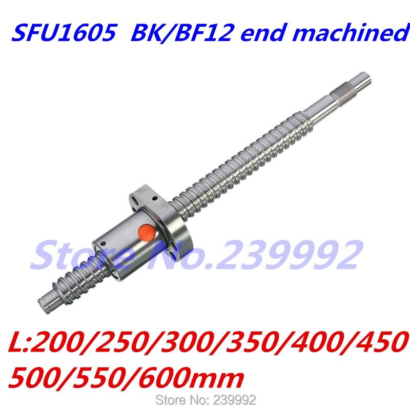 SFU1605 200 250 300 350 400 450 500 550 600 700 800 мм C7 шариковый винт с одной шаровой гайкой BK/BF12 конец обработан|Линейные направляющие|   | АлиЭкспресс - Комплектующие к CNC/3D Print (ЧПУ и 3D принтеры)