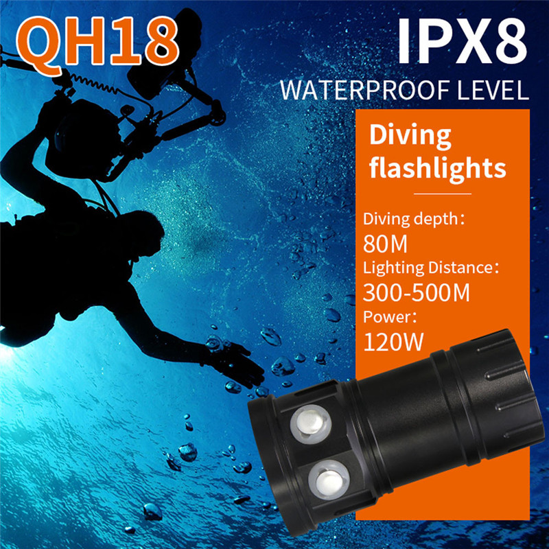 80m LED Diving Flashlight Photography Light Underwater IPX8 Waterproof Torch Lam pro 4 led flashlight waterproof photography light torch portable underwater flashlight for outdoor diving camping