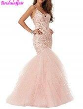 Womens Baby Pink Mermaid Wedding Gowns V-Neck Straps Ball vestido de noiva princesa robe mariage Brides Dresses