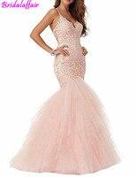 Women's Baby Pink Mermaid Wedding Gowns V Neck Straps Ball Gowns vestido de noiva princesa robe mariage Brides Wedding Dresses