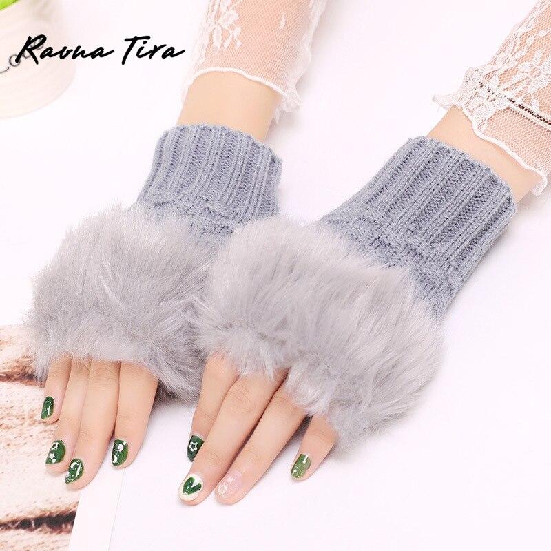 Faux Un Wrist Rabbit Mitten Fur Fur/Villi Women Gloves-Knitted Arm Fingerless Warmer Winter Knitted Gloves New Wrist Trim Gloves