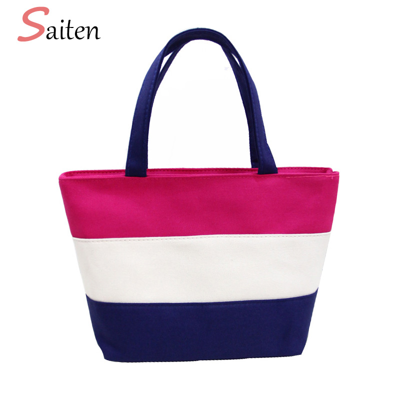 2017 Summer Canvas Striped Women Handbags Female Shoulder Bag Large Capacity Ladies Shopping Bag Daily Use Women Big Beach Bags forudesigns casual women handbags peacock feather printed shopping bag large capacity ladies handbags vintage bolsa feminina