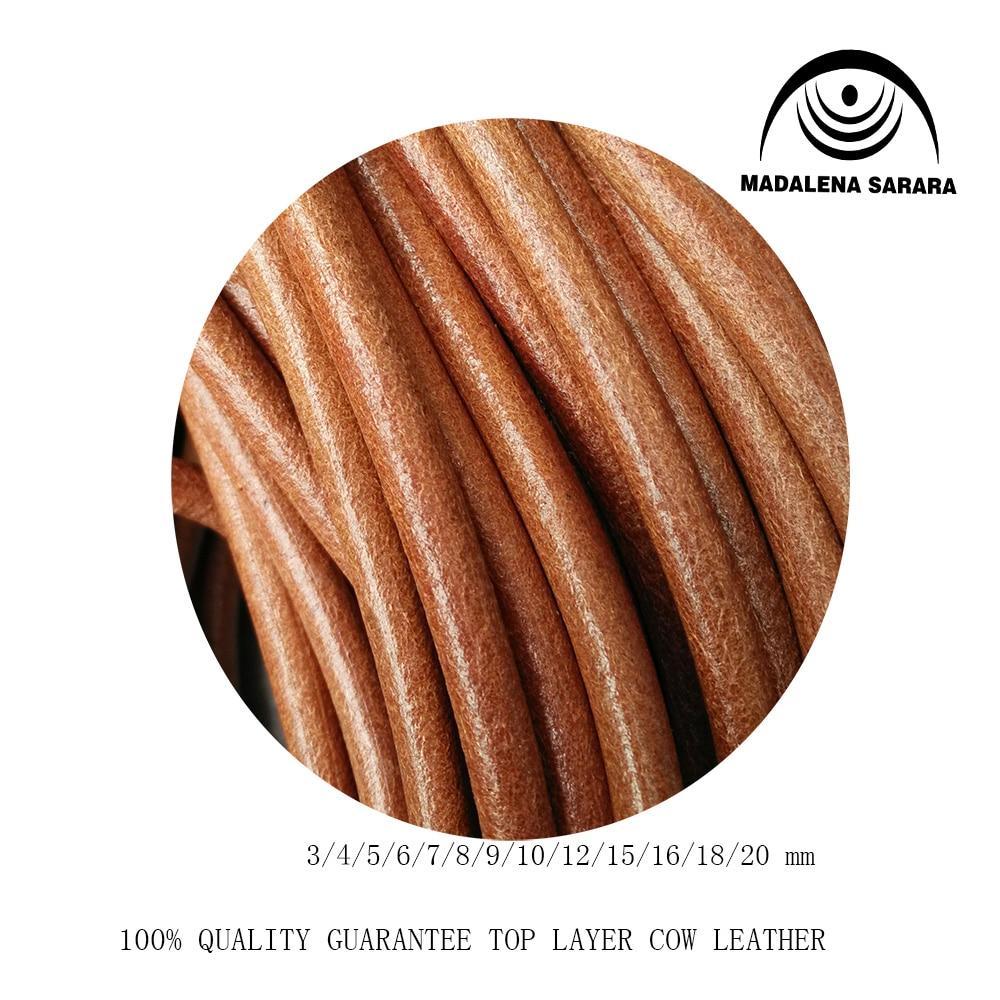 MADALENA SARARA 5m/lot Genuine Leather Top Cow Leather Cord Rope 1mm,1.5MM,2mm,3MM,4mm,5MM,6mm,7mm,8mm,9mm,10mm For Diy Making