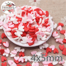 30g 4x5mm polymer clay mix color heart slice flat nail Art Supply Decoration Charm Craft
