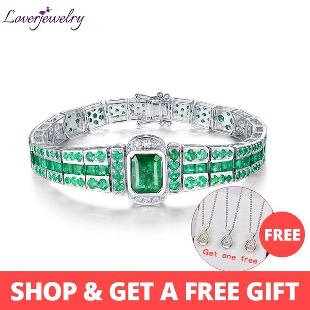 02724bb9fe68 LOVERJEWELRY pulsera Unisex sólido 18 K oro blanco de piedras preciosas  esmeralda de Mujeres Hombres pulsera