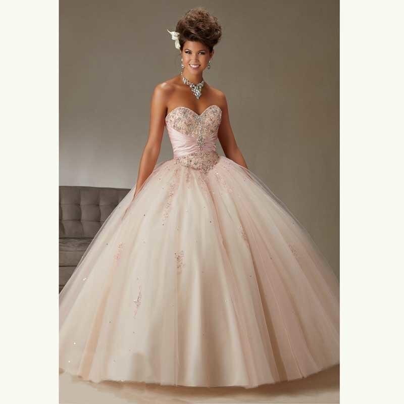 Quinceanera font b Dresses b font Crystals Organza Sweetheart Floor Length Sequins font b Custom b