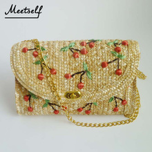 MEETSELF Fashion Women Bags Hand Weave Embroidered Design Cherry Fruit Messenger Bag Pillow Single Chain YT