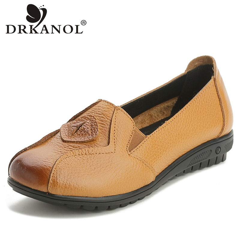DRKANOL 2018 Big Size 35-43 Women Loafers Genuine Leather Casual Flat Shoes Women Slip On Flats Comfortable Soft Ladies Shoes new vintage genuine cow leather women flats fashion round toe slip on women leather loafers ladies casual flat shoes size 35 43