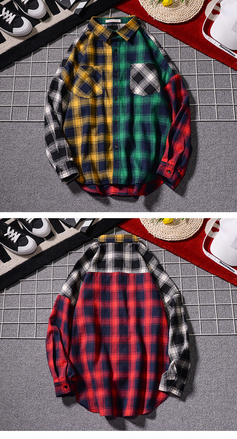 Men 's Loose Plaid Shirt Casual Jacket Student Shirt Plaid Long Sleeve Shirt Spring And Autumn Loose Color Matching Male Shirt 2