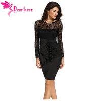 Dear Lover 2017 nouveau automne noir sexy robe de renda Floral Applique Dentelle Ruché Moulante Midi Robe avec Manches Longues LC60820