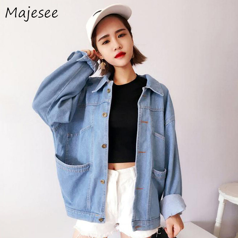 Harajuku BF Style Loose   Basic     Jackets   School Students Korean Coats Women Casual Single Breasted Coat Womens Denim Oversize Chic