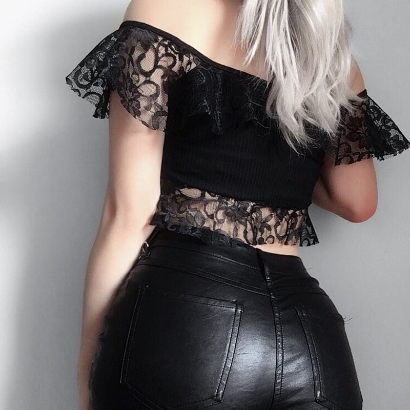 Goth Dark Black lace T shirts Mesh Hollow Out Hole Crop Top Gothic Sexy Eyelet Backless Transparent Patchwork Slash Neck T shirt in T Shirts from Women 39 s Clothing