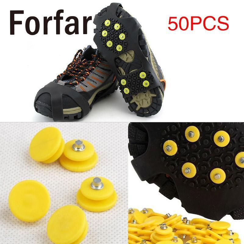 Forfar 50 PCS Outdoor Teeth Nail Climbing Ice Snow Crampons Spike Winter Anti-slip Shoe Cover for Climbing Fishing Travel Kit