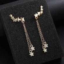Vintage Metal Star Stud Earring Cute Tassel Crystal Earrings For Women Accessories Fashion Jewelry Punk Style Bohemian Bijoux