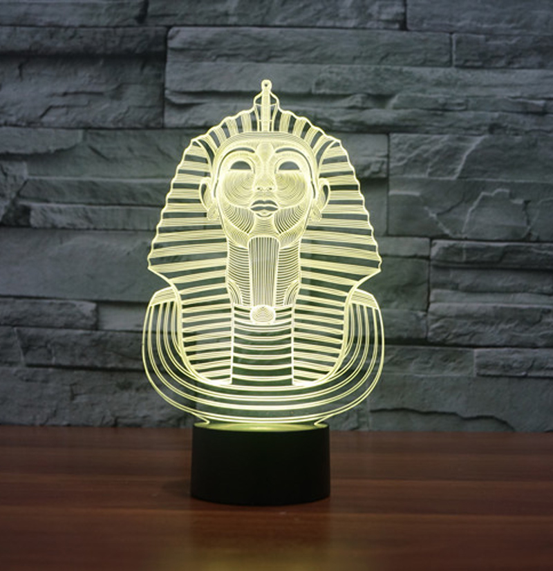 Pyramid Sphinx 3d Led Night Light 7 Color Dimming Illusion