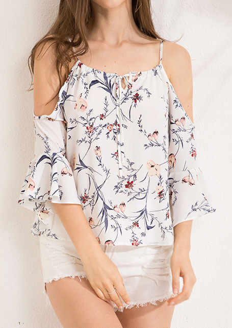 06d12915a126 Καλοκαιρινή μπλούζα μπλούζες ώμων από καφέ ώμο Chiffon Tops ...