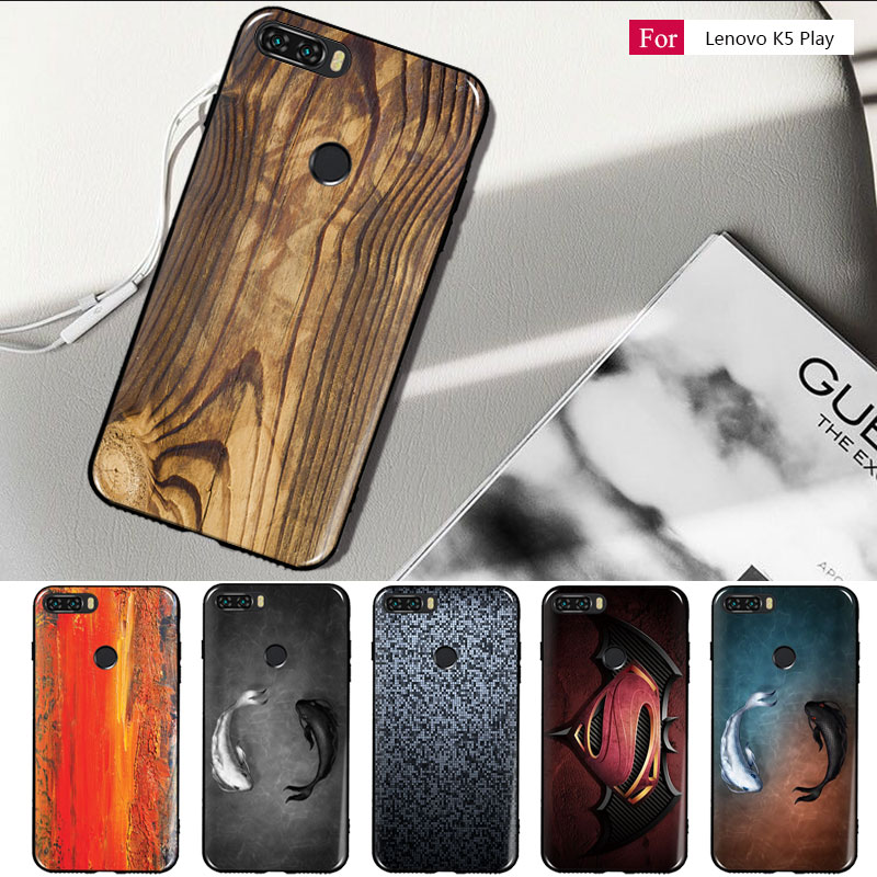 Wood Grain For Lenovo K5 Play Case Cover Soft TPU Silicone Fashion Painting For Lenovo K5 Play L38011 2018 Back Case K5Play 2018
