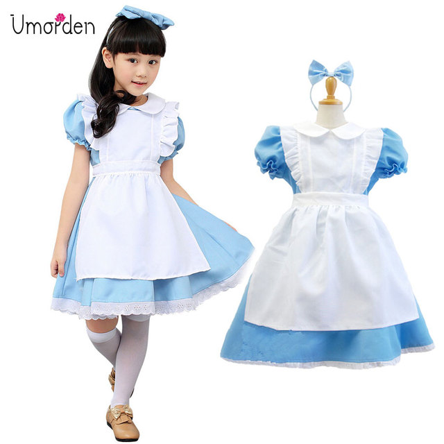 Super Umorden Blauw Baby Meisje Lolita Jurk Alice in Wonderland Kostuum @LX16