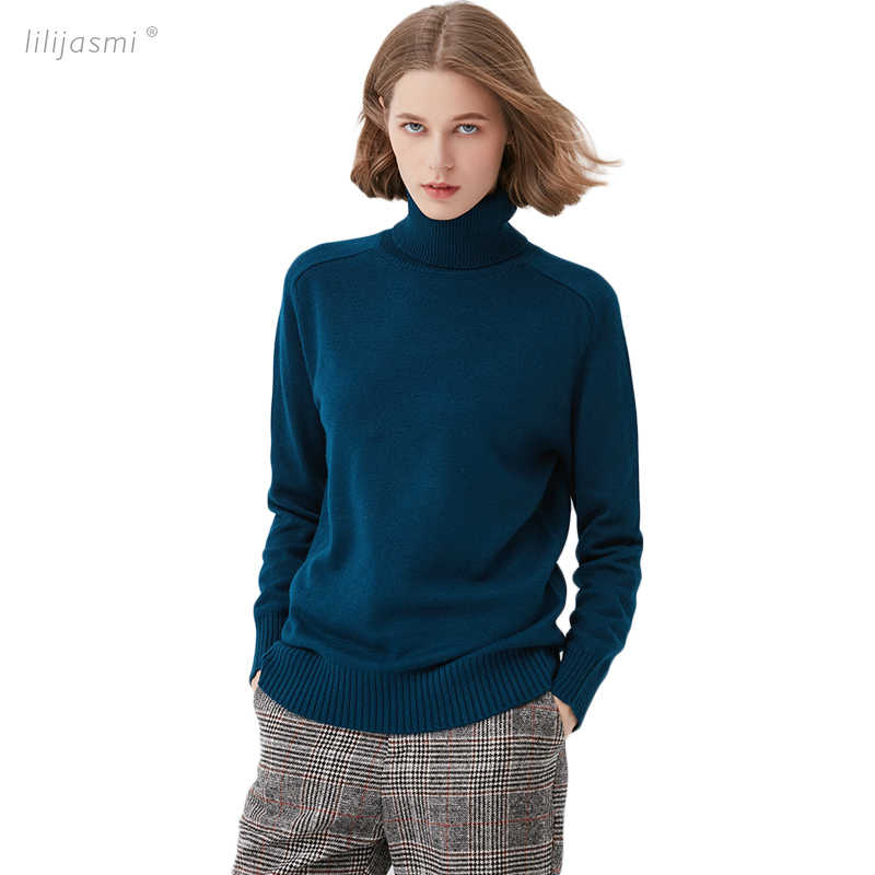 4 Colors Women Rabbit Cashmere Wool Turtleneck Saddle Shoulder Pullover Swater Solid Rib Collar Sweaters Knit Top Female Jumper