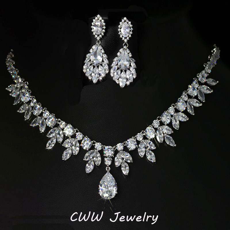 CWWZircons High Quality Cubic Zirconia Bridesmaid Jewelry Sets For Bridal Wedding Earring Necklace Accessories T143 original 1pcs t143 500 6