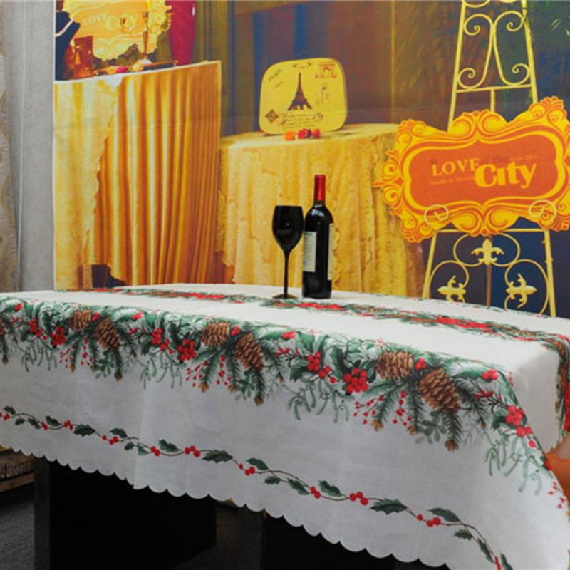 christmas tree tablecloths white table cloth rectangular toalhas de mesa new year linen table covers - Discount Table Linens