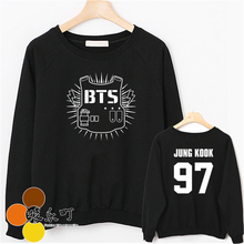 Bts 2017 kpop group Bangtan children autumn new black white long-sleeved thin bts Hoodies k-pop male female t O
