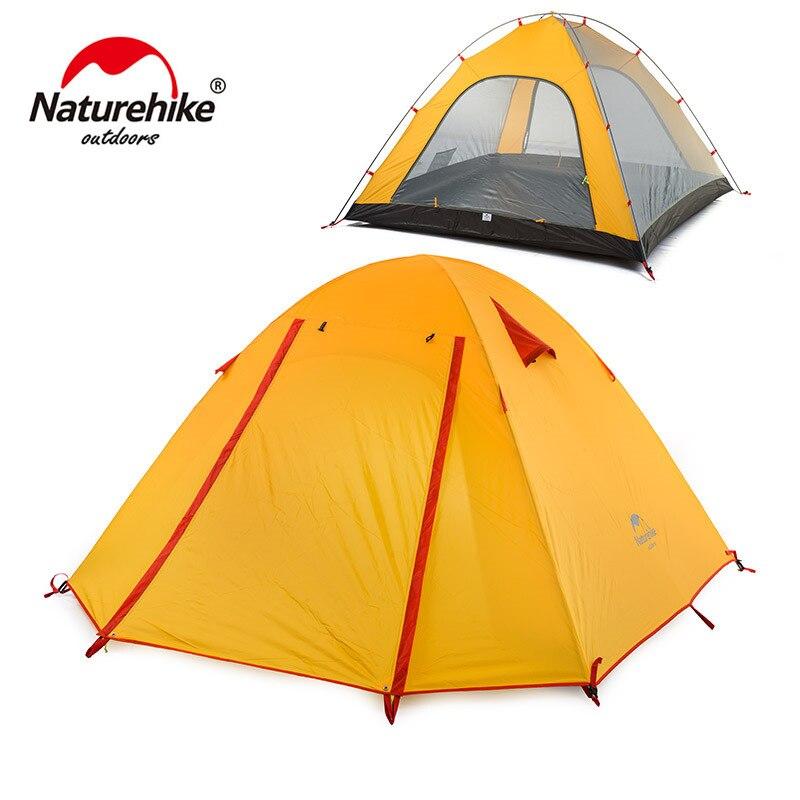 Nature randonnée tente touristique 3 personnes Camping tentes léger 3 saison Double couche coupe-vent imperméable randonnée plage Gazebo tente