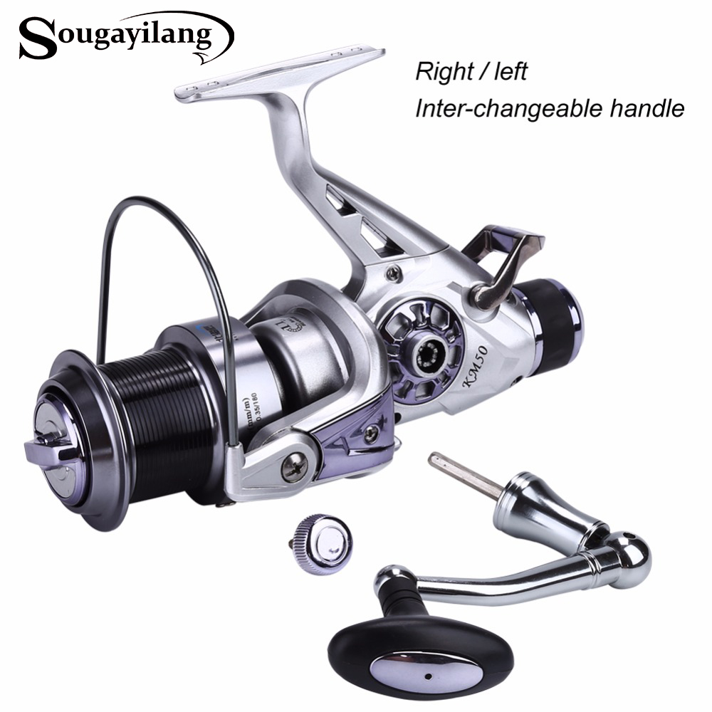 Sougayilang KM50-60 Spinning Reel 5.2:1 Gear Ratio Right Left Hand Interchangeable Fishing Coil Reel 11+1BB Feeder Carp Reel new 13 metal left right interchangeable spinning fishing reel 4 6 1 ratio high speed wheel 88 b2cshop