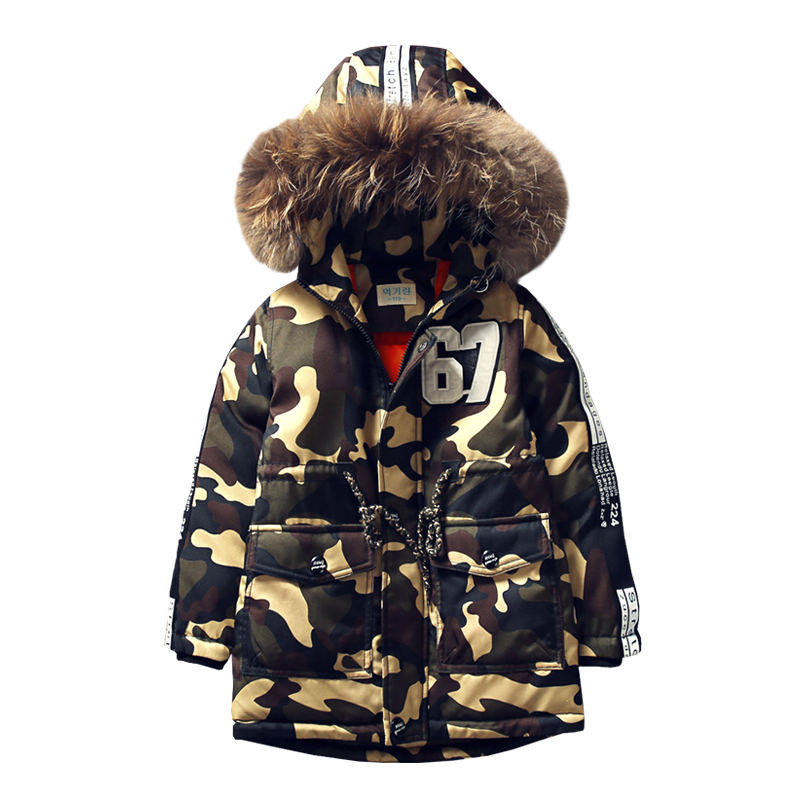 2018 Camouflage Children's Cotton Jacket Long Thick Boy Winter Coat Kids Winter Jackets for Boy Outerwear Hoodeds Fur Collar new 2017 winter jacket women cotton coat fur collar hood parka female long jackets thick warm outerwear chaqueta mujer wu157