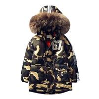 2019 Camouflage Children's Cotton Jacket Long Thick Boy Winter Coat Kids Winter Jackets for Boy Outerwear Hoodeds Fur Collar