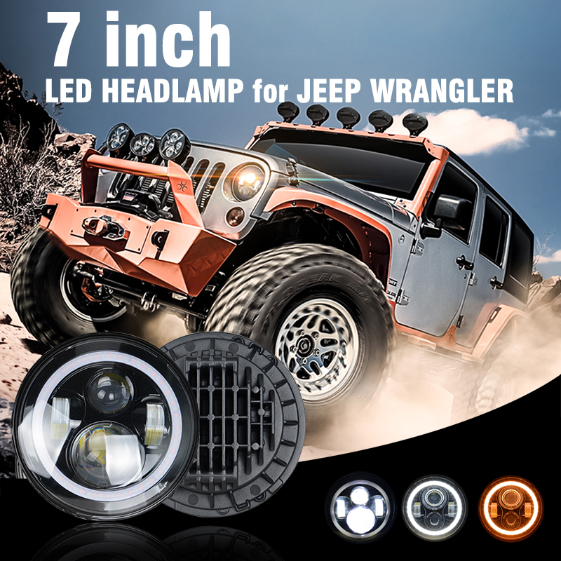 Pair 7 Inch 80W Round With LED Chips APP Headlight Bulb Kit Hi/Lo Angle Eyes DRL Remote Control For Jeep Wrangler JK 2009-2015 1 pair 7 inch 78w cree chips h4 hi lo led headlight lamp angel eye drl bulb for jeep wrangler offroad