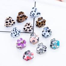 2018 Sale 1PC Korean Plum Hair Pin Blossom Print Girls Leopard Side Bang Clip Claws Accessories