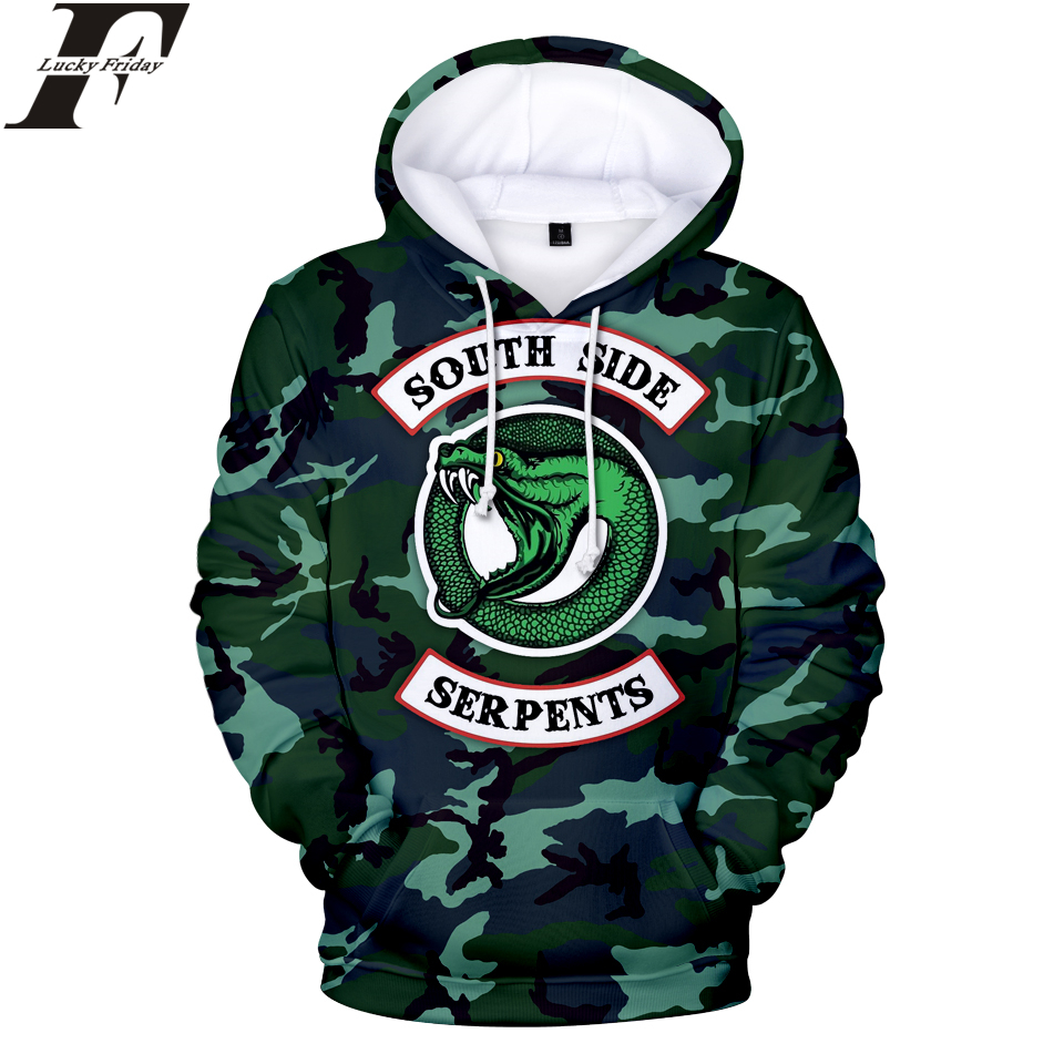 LUCKYFRIDAYF RIVERDALE Hoodies 3D Print Women/Men Sweatshirts Snake 2018 Hoodies Sweatshirt Men/Women Casual Clothes Plus Size
