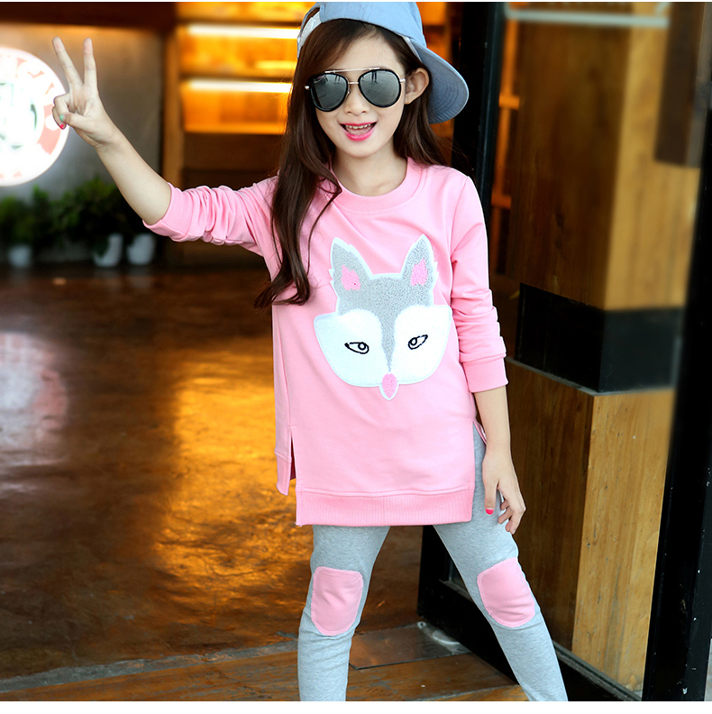 Girls Clothing Sets Autumn Long Sleeve T-shirt+Pants Tracksuit Cotton Clothes Suit Children's Sports Suits Kids Set 6 8 10 Years autumn winter boys girls clothes sets sports suits children warm clothing kids cartoon jacket pants long sleeved christmas suit