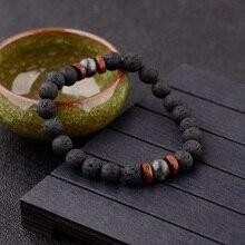 Amder Pulseras de piedra de Lava negra Vintage para hombre y mujer, pulsera con cuentas de madera Natural para meditación, joyería para oración, Yoga