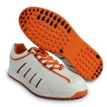 Zapatos de Golf originales para hombre, zapatos deportivos antideslizantes a prueba de agua y absorción de golpes, zapatos atléticos de cuero mirofiber para hombre