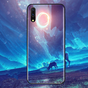 Tempered glass hard back phone case huawei p20 full shockproof cover