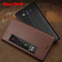Gustell Original Mate 10 Genuine Leather Flip Cover Case For Huawei Mate 10 Phone Cover Crocodile