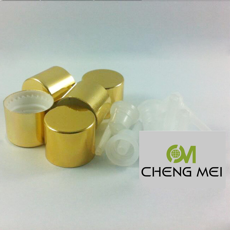 shiny gold aluminum screw cap with with dropper plug can match with 5ml10ml15ml20ml30ml50ml100ml essential oil bottle,18mm