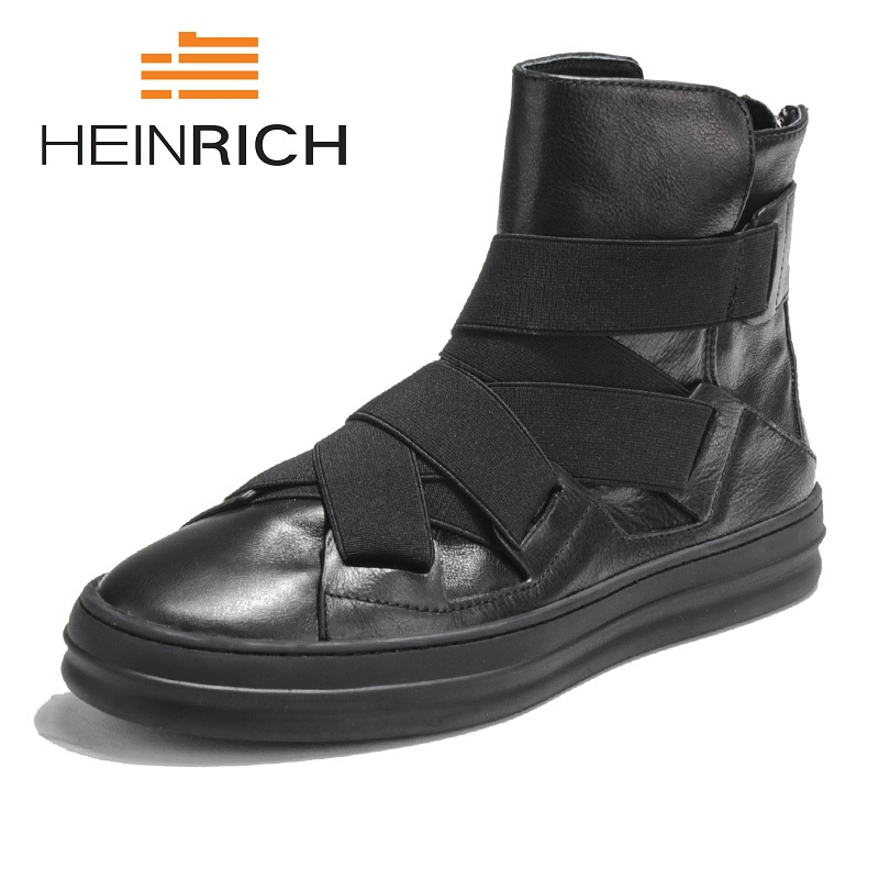 HEINRICH New Winter Mens Boots High-Top Shoes Martin Boots Mens British Boots Men Male Zipper Genuine Leather Warm Shoes Tenis lozoga new mens boots genuine leather luxury riding boots winter casual boots high top british style handmade equestrian boots