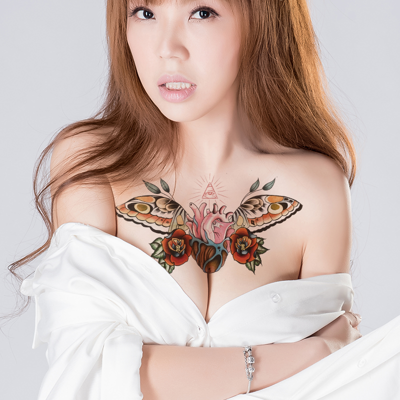 Sternum Temporary Tattoo Breast Temporary Tattoo Woman Waterproof Underboob Sexy Tattoo Women Men Body Sticker Chest Tatoo Fake