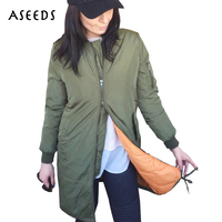 Winter Autumn Military Army Green Long Bomber Jacket Women Outwear Coats Female Stand Collar Windbreaker Casaco