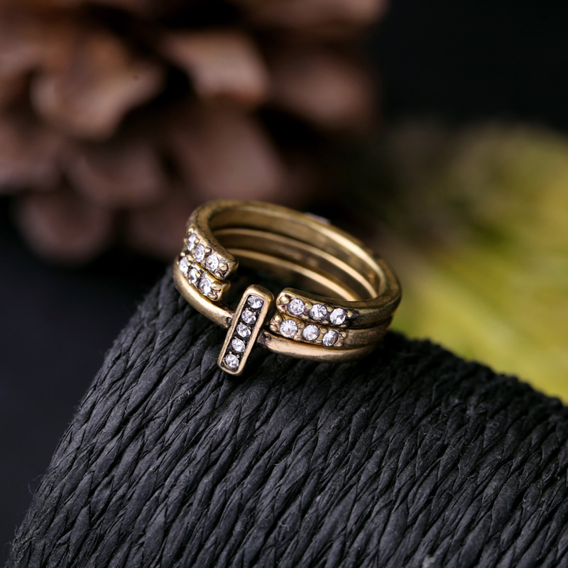 3 pcs online store fashion gold plated women open rings set new design party jewelry
