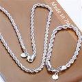 El envío Libre Al Por Mayor de Joyería de Moda Set, Flash trenzado cuerda 2 Unidades set, 925 plata Esterlina Necklace & Bracelet y pendientes T018